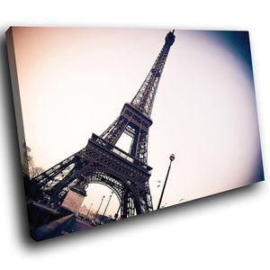 SC147 Framed Canvas Print Colourful Modern Scenic Wall Art - Eiffel Tower Paris Retro - WhatsOnYourWall