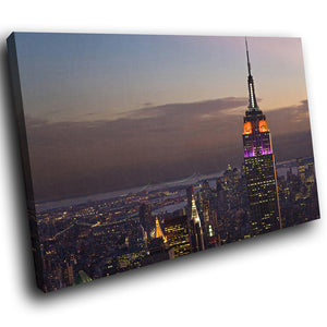 SC150 Framed Canvas Print Colourful Modern Scenic Wall Art - New York Empire State Purple - WhatsOnYourWall