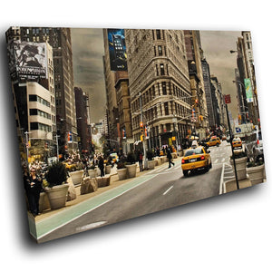 SC151 Framed Canvas Print Colourful Modern Scenic Wall Art - Times Square New York Cool-Canvas Print-WhatsOnYourWall