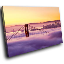 SC152 Framed Canvas Print Colourful Modern Scenic Wall Art - Golden Gate Bridge Sunrise-Canvas Print-WhatsOnYourWall