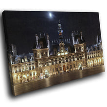 SC156 Framed Canvas Print Colourful Modern Scenic Wall Art - Hotel de Ville Paris Cool-Canvas Print-WhatsOnYourWall