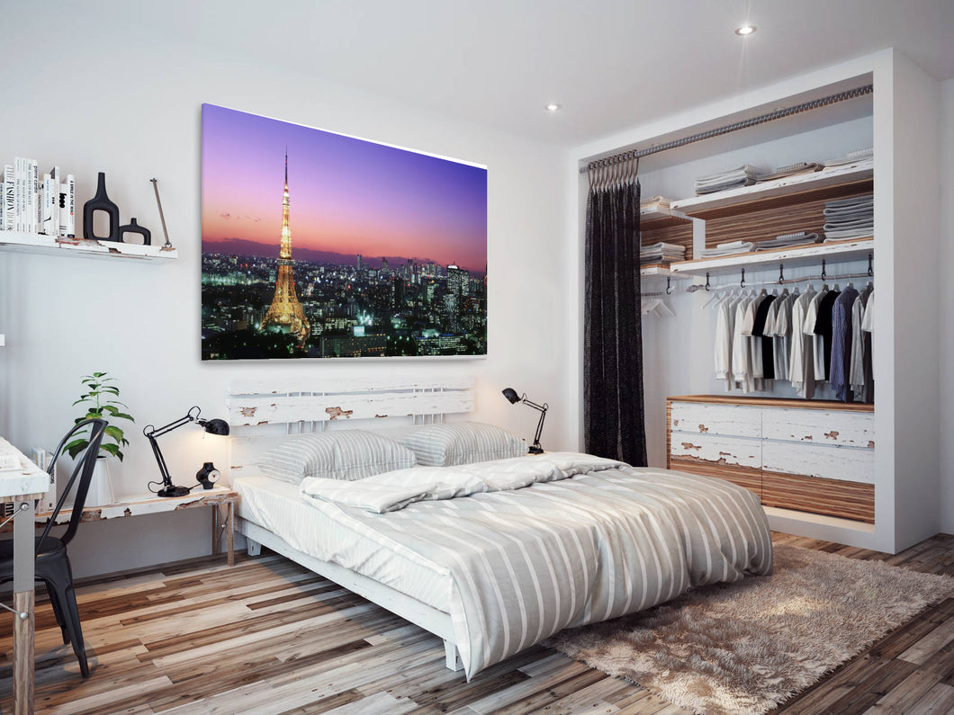 SC159 Framed Canvas Print Colourful Modern Scenic Wall Art - Paris Sunset Eiffel Tower-Canvas Print-WhatsOnYourWall