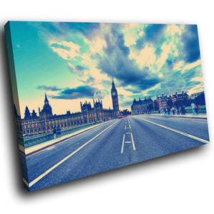 SC160 Framed Canvas Print Colourful Modern Scenic Wall Art - London Bridge Big Ben Blue-Canvas Print-WhatsOnYourWall