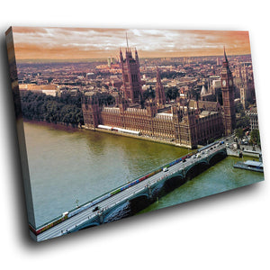SC161 Framed Canvas Print Colourful Modern Scenic Wall Art - London Parliament Big Ben-Canvas Print-WhatsOnYourWall