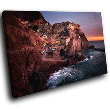 SC162 Framed Canvas Print Colourful Modern Scenic Wall Art - Cinque Terre Sunset Pink-Canvas Print-WhatsOnYourWall