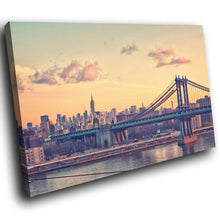 SC163 Framed Canvas Print Colourful Modern Scenic Wall Art - New York Bridge Retro Cool-Canvas Print-WhatsOnYourWall