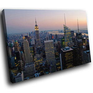 SC166 Framed Canvas Print Colourful Modern Scenic Wall Art - New York City Skyline Retro-Canvas Print-WhatsOnYourWall