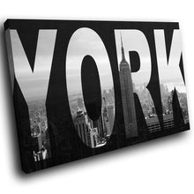 SC167 Framed Canvas Print Colourful Modern Scenic Wall Art - New York City Skyline Retro - WhatsOnYourWall
