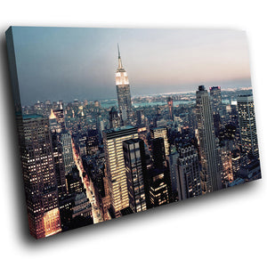 SC168 Framed Canvas Print Colourful Modern Scenic Wall Art - New York City Skyline Retro-Canvas Print-WhatsOnYourWall