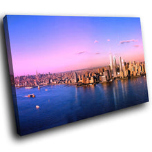 SC170 Framed Canvas Print Colourful Modern Scenic Wall Art - Pink Blue Sunset New York-Canvas Print-WhatsOnYourWall