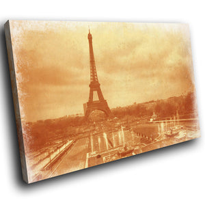 SC174 Framed Canvas Print Colourful Modern Scenic Wall Art - Eiffel Tower Vintage Paris-Canvas Print-WhatsOnYourWall