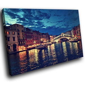 SC175 Framed Canvas Print Colourful Modern Scenic Wall Art - Venice City Italy Night Cool-Canvas Print-WhatsOnYourWall