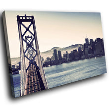 SC176 Framed Canvas Print Colourful Modern Scenic Wall Art - San Francisco Retro Cool-Canvas Print-WhatsOnYourWall