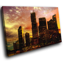 SC177 Framed Canvas Print Colourful Modern Scenic Wall Art - New York Sunset City Cool-Canvas Print-WhatsOnYourWall