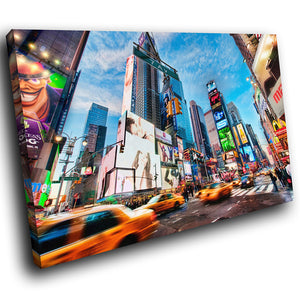 SC179 Framed Canvas Print Colourful Modern Scenic Wall Art - New York City Times Square-Canvas Print-WhatsOnYourWall
