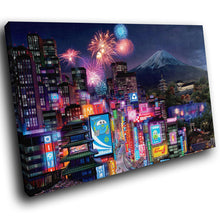 SC180 Framed Canvas Print Colourful Modern Scenic Wall Art - Colourful Tokyo City Cool-Canvas Print-WhatsOnYourWall