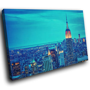SC181 Framed Canvas Print Colourful Modern Scenic Wall Art - New York City Skyline Blue-Canvas Print-WhatsOnYourWall