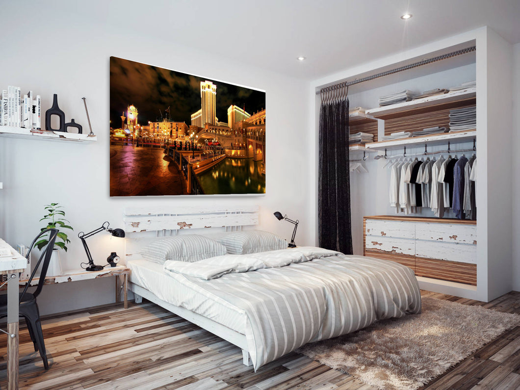 SC183 Framed Canvas Print Colourful Modern Scenic Wall Art - Las Vegas Hotel Cool Funky-Canvas Print-WhatsOnYourWall