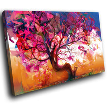 SC190 Framed Canvas Print Colourful Modern Scenic Wall Art - Pink Blue Orange Tree Nature-Canvas Print-WhatsOnYourWall