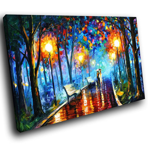 SC196 Framed Canvas Print Colourful Modern Scenic Wall Art - Retro Colourful Park Sunset-Canvas Print-WhatsOnYourWall