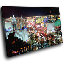 SC227 Framed Canvas Print Colourful Modern Scenic Wall Art - Las Vegas Night Skyline-Canvas Print-WhatsOnYourWall