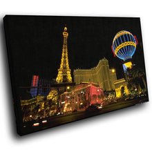 SC228 Framed Canvas Print Colourful Modern Scenic Wall Art - Las Vegas Colourful Hotel-Canvas Print-WhatsOnYourWall
