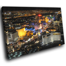 SC230 Framed Canvas Print Colourful Modern Scenic Wall Art - Las Vegas Colourful Skyline-Canvas Print-WhatsOnYourWall