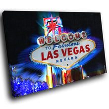 SC233 Framed Canvas Print Colourful Modern Scenic Wall Art - Las Vegas Retro Sign Cool-Canvas Print-WhatsOnYourWall