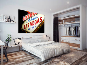 SC237 Framed Canvas Print Colourful Modern Scenic Wall Art - Las Vegas Retro Sign Cool-Canvas Print-WhatsOnYourWall