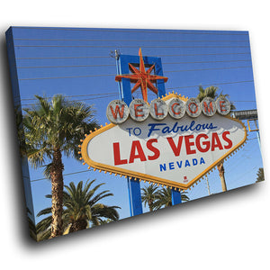 SC239 Framed Canvas Print Colourful Modern Scenic Wall Art - Las Vegas Retro Sign Cool-Canvas Print-WhatsOnYourWall