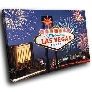 SC242 Framed Canvas Print Colourful Modern Scenic Wall Art - Las Vegas Retro Sign Cool-Canvas Print-WhatsOnYourWall