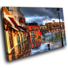 SC251 Framed Canvas Print Colourful Modern Scenic Wall Art - Colourful Harbour Boats-Canvas Print-WhatsOnYourWall