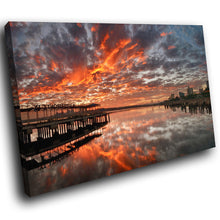 SC252 Framed Canvas Print Colourful Modern Scenic Wall Art - Orange Grey Sunset Pier Cool-Canvas Print-WhatsOnYourWall