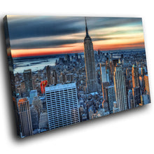SC254 Framed Canvas Print Colourful Modern Scenic Wall Art - Colourful City Skyline Cool-Canvas Print-WhatsOnYourWall