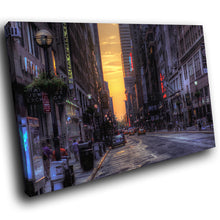 SC255 Framed Canvas Print Colourful Modern Scenic Wall Art - New York City Retro Cool-Canvas Print-WhatsOnYourWall