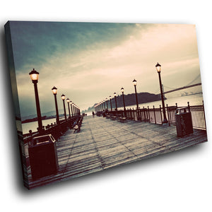 SC256 Framed Canvas Print Colourful Modern Scenic Wall Art - Retro Vintage Pier Cool-Canvas Print-WhatsOnYourWall