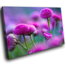 SC260 Framed Canvas Print Colourful Modern Scenic Wall Art - Purple Green Flowers Nature-Canvas Print-WhatsOnYourWall