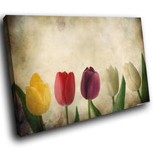 SC267 Framed Canvas Print Colourful Modern Scenic Wall Art - Retro Colourful Flower Cool-Canvas Print-WhatsOnYourWall