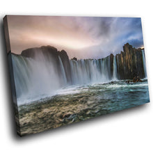 SC271 Framed Canvas Print Colourful Modern Scenic Wall Art - Retro Cool Waterfall Nature-Canvas Print-WhatsOnYourWall