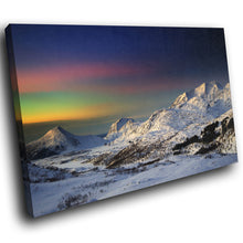 SC272 Framed Canvas Print Colourful Modern Scenic Wall Art - Colourful Aurora Mountain Snow-Canvas Print-WhatsOnYourWall