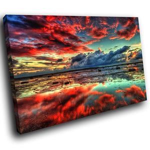 SC273 Framed Canvas Print Colourful Modern Scenic Wall Art - Retro Colourful Ocean Nature-Canvas Print-WhatsOnYourWall