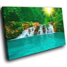SC275 Framed Canvas Print Colourful Modern Scenic Wall Art - Green Blue Waterfall Nature-Canvas Print-WhatsOnYourWall