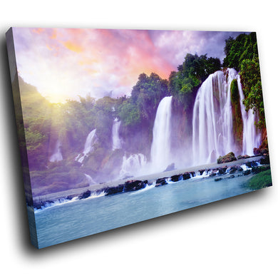 SC277 Framed Canvas Print Colourful Modern Scenic Wall Art - Colourful Waterfall Sunrise - WhatsOnYourWall