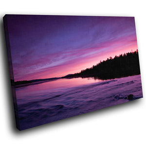 SC280 Framed Canvas Print Colourful Modern Scenic Wall Art - Pink Purple River Sunset-Canvas Print-WhatsOnYourWall