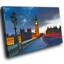 SC282 Framed Canvas Print Colourful Modern Scenic Wall Art - London Bridge Big Ben Cool-Canvas Print-WhatsOnYourWall