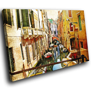 SC283 Framed Canvas Print Colourful Modern Scenic Wall Art - Colourful Retro Venice Boat-Canvas Print-WhatsOnYourWall