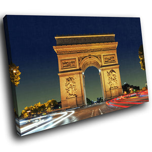 SC284 Framed Canvas Print Colourful Modern Scenic Wall Art - Arc de Triomphe Paris Cool-Canvas Print-WhatsOnYourWall