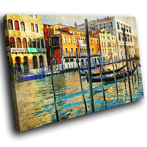 SC285 Framed Canvas Print Colourful Modern Scenic Wall Art - Retro Colourful Venice Boat-Canvas Print-WhatsOnYourWall
