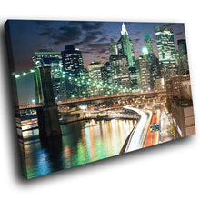 SC289 Framed Canvas Print Colourful Modern Scenic Wall Art - Green Blue New York City - WhatsOnYourWall