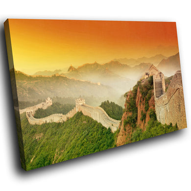 SC291 Framed Canvas Print Colourful Modern Scenic Wall Art - China Great Wall Sunrise - WhatsOnYourWall